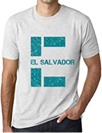 One in the City Hombre Camiseta Vintage T-Shirt Gráfico Letter E Countries and Cities EL Salvador Blanco…
