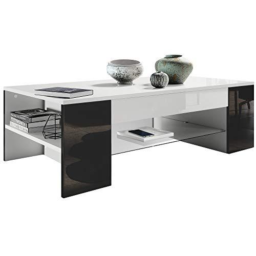 Couchtisch Beistelltisch Wohnzimmertisch Clip in Weiß mit Blenden in Schwarz Hochglanz - Hochglanz Schwarz Glas