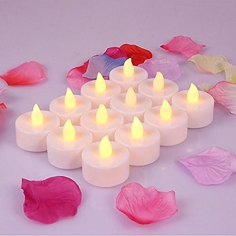 Lot de 24bougies LED à piles sans flamme Mooncandles, parfait pour les mariages, noël, Funérailles, souvenirs, dia