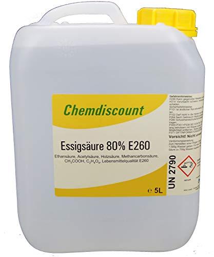 5Liter (ca. 5,35kg Inhalt) Essigsäure 80%, Lebensmittelqualität E260, versandkostenfrei! -