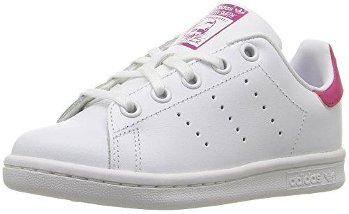adidas Originals Unisex-Kids Stan Smith C Sneaker, White/White/Bold Pink, 11 Medium US Little Kid -