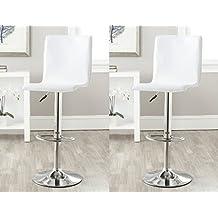 DP GRIFERIA 2x16040+16001 - Pack 2 Taburetes con base en cromo y asiento cuadrado color crema (imitación cuero)