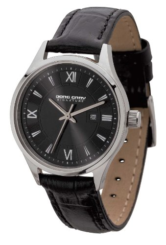 Jorg Gray Signature Collection Women's Quartz Watch with Black Dial Analogue Display and Black Leather Strap JGS2581