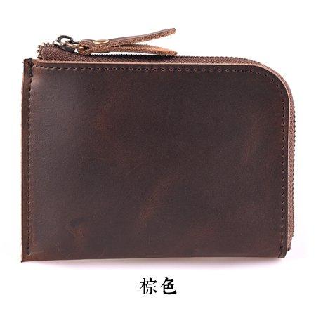 Handgefertigte Leder Geldbörse, MINI ZIP Herren Geldbörse, Tasche Damen, Vintage Leder, Bordeaux Dark brown