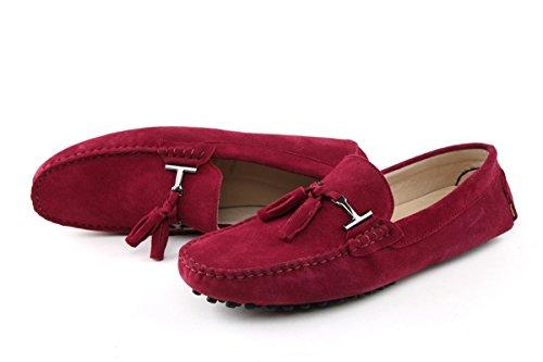 Mens Minitoo Nouvelle chassen daim pour chaussures bateau Loafers Penny de conduite rouge vin