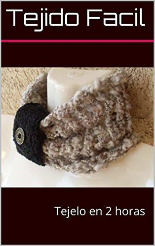 Cuello Gris Tejido  a Palillo y Adorno Negro Tejido a Crochet: Tejelo en 2 horas