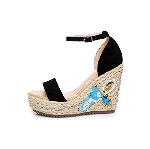 Il ricamo del tallone del cuneo ha intrecciato i pattini sexy della caviglia dei sandali high-heeled ( Colore : Black 10.5cm , dimensioni : 36 ) Black 10.5cm