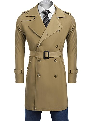 Coofandy Men's Double-Breasted Trench Coat British Style Long Jacket Slim Fit Lapel Collar Windbreaker With Belt