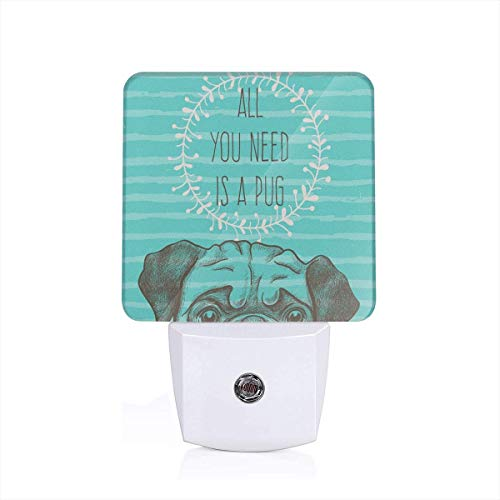 te Dog With All You Need Is A Pug Quote On An Aqua Background Plug-in LED Night Light Lamp with Dusk to Dawn Sensor, Night Home Decor Bed Lamp ()