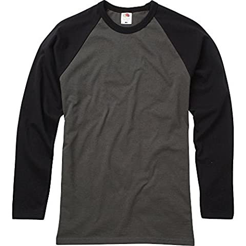 Fruit Of The Loom Mens Long Sleeve Baseball Cotton T-Shirt