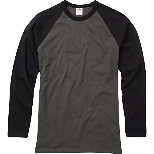 Fruit Of The Loom Mens Long Sleeve Baseball Cotton T-Shirt
