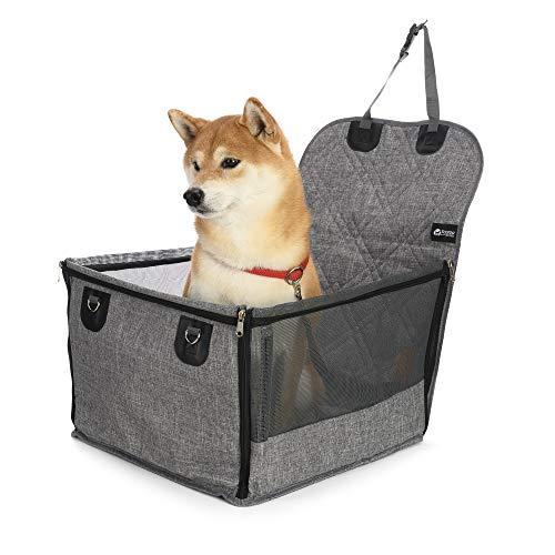 Scorzaforpets seggiolino auto per cani taglia media e piccola con cintura di sicurezza, tessuto oxford, grigio (58x46x32 cm)