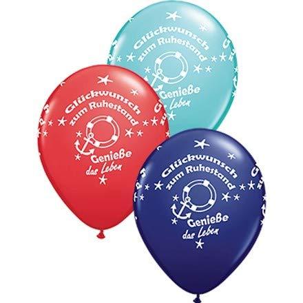 Qualatex Luftballons Glückwunsch zum Ruhestand, blau/rot/türkis, ca. 30 cm, 5 St. (Zum Ballon Verkauf)