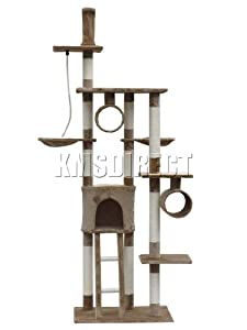 Deluxe Multi Level Cat Scratcher Cat Tree Activity Centre Scratching Post Activity Toys D006 Brown Faux Fur 50cm x 70cm x 230cm - 260cm Height Adjustable from KMS