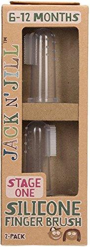 JACK N 'JILL - Brosse à dents en silicone - Étape 1 - Pour les bébés de 6 à 18 mois - Nettoyage hygiénique et sûr - Facile à utiliser - Doux pour les dents et les gencives - 2 pièces
