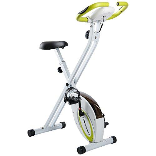 Ultrasport F-Bike, Fahrradtrainer, Heimtrainer, faltbares Fitnessfahrrad mit Trainingscomputer und Handpulssensoren, klappbar, Grün