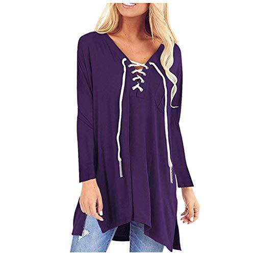 Damen Langarmhemd Tops Solide V-Ausschnitt Schnürung Kordelzug Mit Tasche Flowy Lässige Bluse Übergröße(M,Lila)
