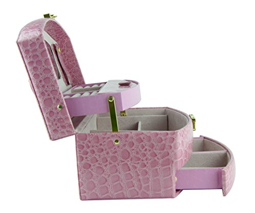Feibrand-Princesa-Cajas-de-Joyera-de-Piel-Sinttica-Rosa