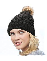 Dafunna Gorro de Punto Trenzado para Mujer con Pompón Sombrero de Invierno  Cálido Lana Beanie Grande 5cc0a4d758dc