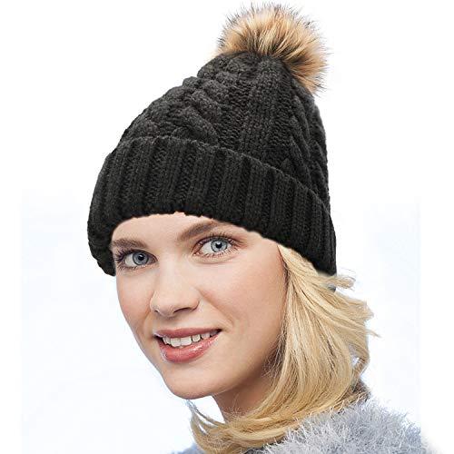 Dafunna Gorro de Punto Trenzado para Mujer con Pompón Sombrero de Invierno Cálido Lana Beanie Grande de Piel Sintética (Negro, Talla única)