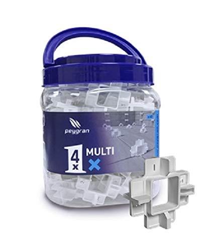 """Peygran Multi espaciadores x – 4 tamaños en 1 cubo espaciador incluyendo 60 espaciadores reutilizables X con 4 tamaños 5 mm (3/16""""), 3 mm (1/8""""), 2 mm (1/16"""") y 1 mm (1/32"""") cada uno"""