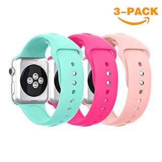 Apple Watch Bands 38mm 42mm,YaYuu Soft Silicone Watch Band Sport Replacement Wristband for Apple Watch 38mm Series 3, Series 2, Series 1, Sport and Edition (# B,Mint green+Barbie pink+Vintage rose, 38MM)
