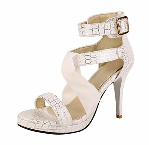 SHINIK Chaussures Femmes Stone Pattern Haut-Tops Sandales Fine Peep Toe Chaussures Romaines Pompes à bride de cheville beige