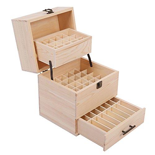 MUUZONING 3-lagige Multifunktionale Aromatherapie ätherisches Öl Display Ständer Gestell Halter Organisator, 59 Löcher Holz Box Veranstalter Aufbewahrung Koffer für Nagellack, Duftöle, Stain #4