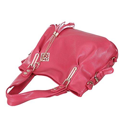 a Sacchetti Borse Pelle Tote tracolla Borse Borsetta PU a Sacchetto Mano rosa w8x0OnBE