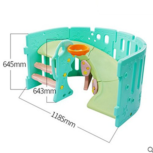 Playpens Folding Portable Baby Kids Multi Color Play Yard With Slide 11-Panel Safety Play Center Yard Home Indoor Outdoor qiangzi