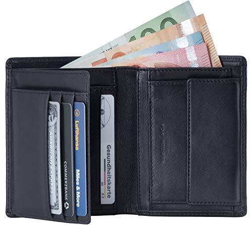 VON HEESEN Geldbeutel Männer mit RFID-Schutz - Made in Europe - 12 Fächer - Leder Geldbörse für Damen & Herren - Portemonnaie Portmonaise Brieftasche Portmonnaie Wallet Portmonee (Schwarz)