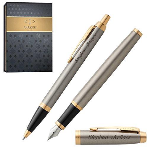 PARKER Schreibset IM Brushed Metal G.C. mit Gravur Füller und Kugelschreiber mit Geschenk-Etui