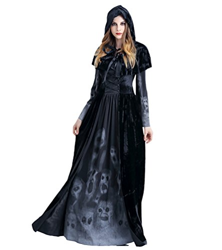 Anguang Donna Halloween Lungo Mantello con Cappuccio Mantello Costume Cosplay Stile 1 L