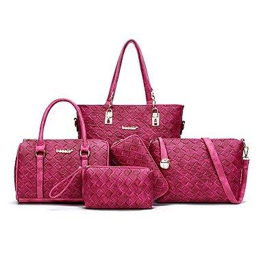 Donna europea e americana di moda pacchetto femmina uno spallamento lato il suo gioco ms configurare il pacchetto 5 sacchetto di tessuto,viola Brown