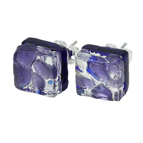 GlassOfVenice Ohrstecker Muranoglas, venezianische Reflexionen, quadratisch, Periwinkle