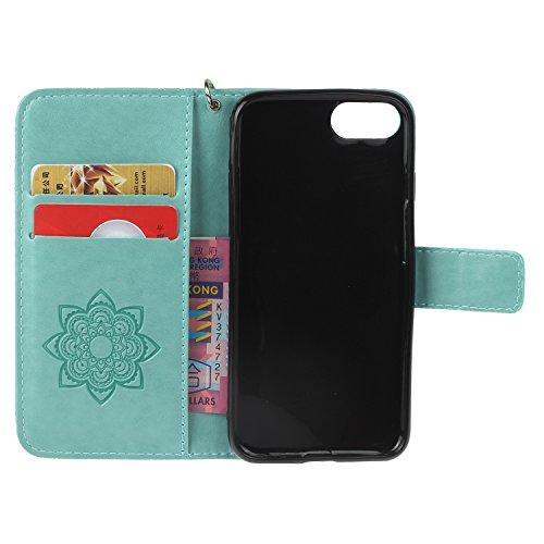 PU iPhone 7 Coque Bookstyle Hibou Étui Fleur Housse en Cuir Case à rabat pour Apple iPhone 7 (4.7 pouces) Coque de protection Portefeuille PU Case Cover (+Bouchons de poussière) (9) 9