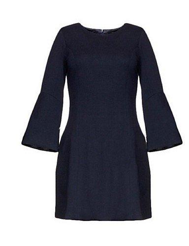 PU&PU Robe Aux femmes Gaine Street Chic,Couleur Pleine Col Arrondi Au dessus du genou Polyester BLUE-M