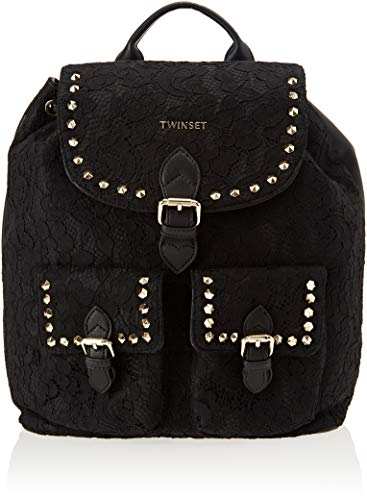 Twin Set Aa8pfn Borsa Zainetto Donna Nero 17x34x30