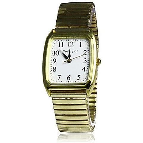 Rectángulo Hombres Dial elástico venda de acero de pulsera de cuarzo ( Color : Oro )