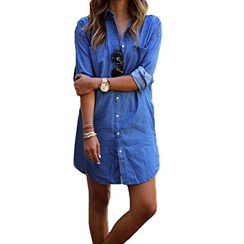 Camicetta di jeans da donna tunica - juleya camicia jeans camicetta mini vestito manica lunga estate sexy camicetta autunno denim blu top