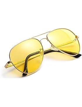 Gafas De Sol Amarillas Conducir Nocturnas para Hombre Mujer Polarizadas Aviador - Protección UV 400