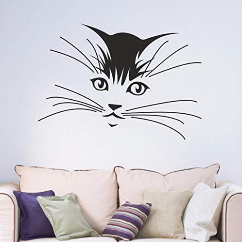 Qqasd Katze Kätzchen Bart Kinder Schlafzimmer Wohnzimmer Jugend Hause Aufkleber Abnehmbare Vinyl Kunst Wandaufkleber Wandbild 42X59 Cm -