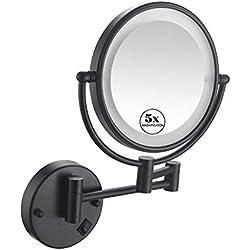 BWBW Miroirs de Maquillage LED 5X, 8 Pouces,Miroir cosmétique 5 Fois grossissement, Double Face Miroir Mural, pour Rasage et Maquillage