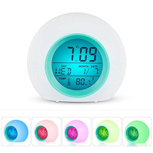 Despertador Digital, CompraFun Reloj Alarma con Luz de Colores Múltiples y Sonidos de la Naturaleza, Pantalla LED con Presentación de Hora, Fecha, Temperatura, Función Snooze