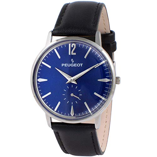 Peugeot Men's Vintage Blue Dial Retro Business Analog Watch with Remote Sweep Second Hand and Black Strap