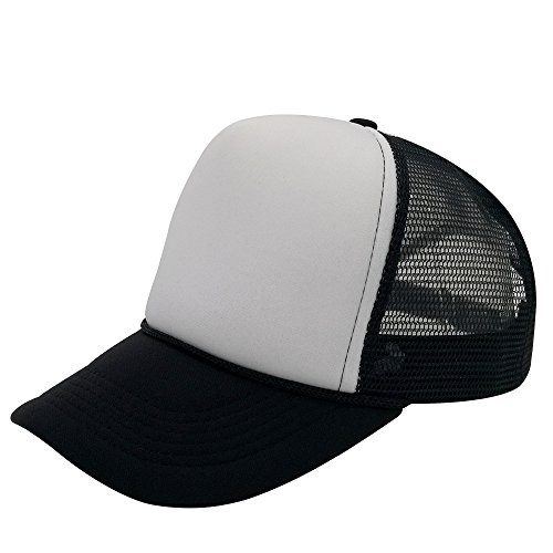 06550302e2cc8 oriental spring Unisex Plain Baseball Cap Trucker Mesh Hat Adjustable Snap  Back With Rope Front (Black/White) - Buy Online in Oman.