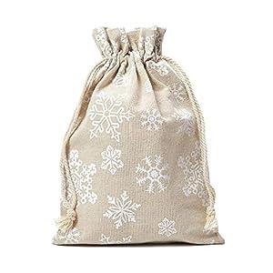12 Leinensäckchen, Leinenbeutel mit Schneeflocken-Motiv und Baumwollkordel zum Zuziehen, Adventskalender, Geschenkverpackung, Weihnachtsbeutel, Schnee (15x10cm)