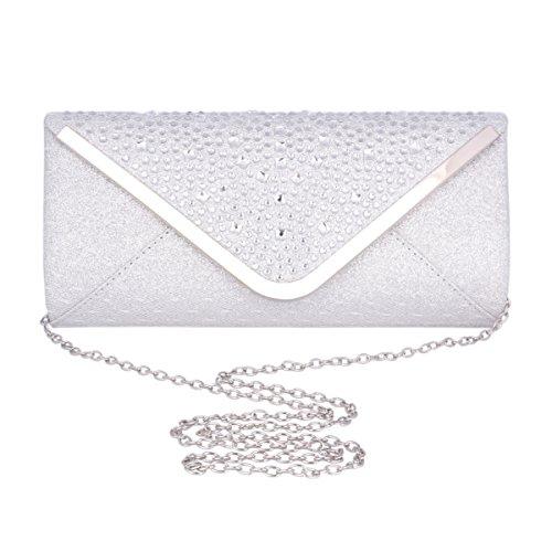 Adoptfade Abendtasche Lang Damen Clutch Tasche Mit Strass Dekoration, Weiß Silber