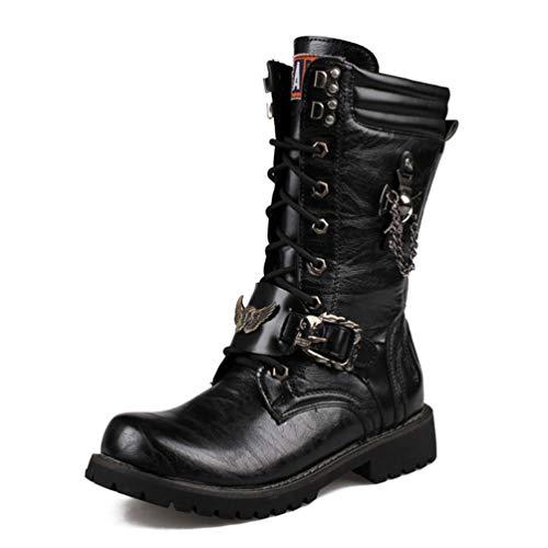 Botas Altas para La Rodilla para Hombre Cadena Botas Militares De...