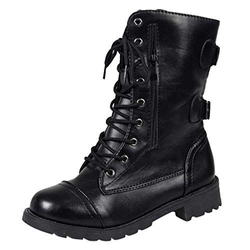 BURFLY Women Ladies Leather Biker Boots, Punk Gothic Military Combat Boots, Lace-up Mid-Calf Boots - Side Zipper - Back Buckle - Size 4-8 UK